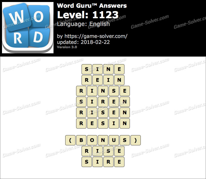 Word Guru Level 1123 Answers