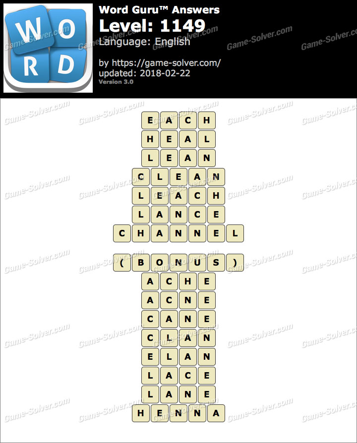 Word Guru Level 1149 Answers