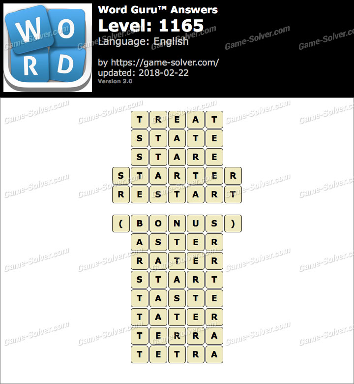 Word Guru Level 1165 Answers