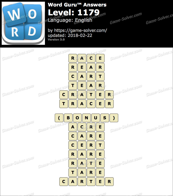 Word Guru Level 1179 Answers