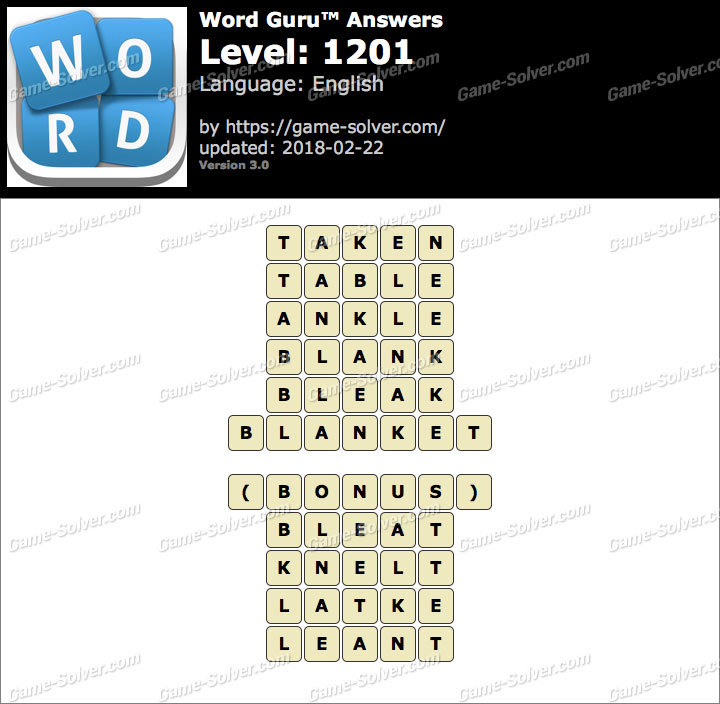 Word Guru Level 1201 Answers