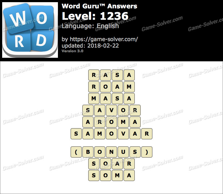 Word Guru Level 1236 Answers