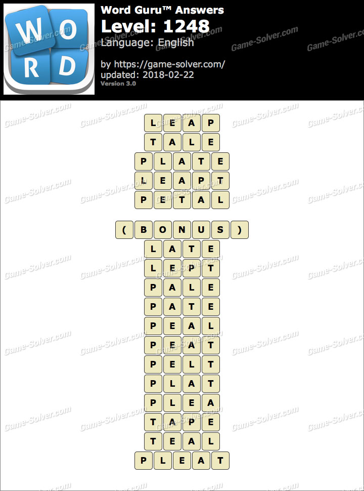 Word Guru Level 1248 Answers