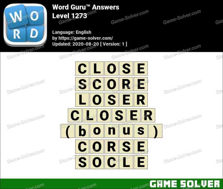 Word Guru Level 1273 Answers
