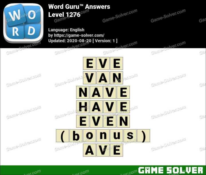 Word Guru Level 1276 Answers