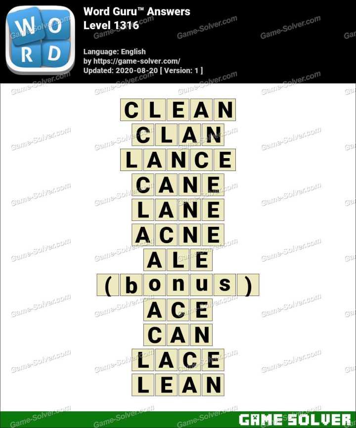 Word Guru Level 1316 Answers