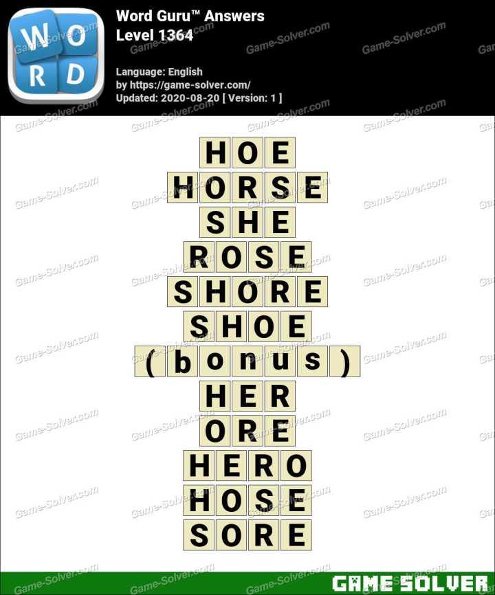 Word Guru Level 1364 Answers
