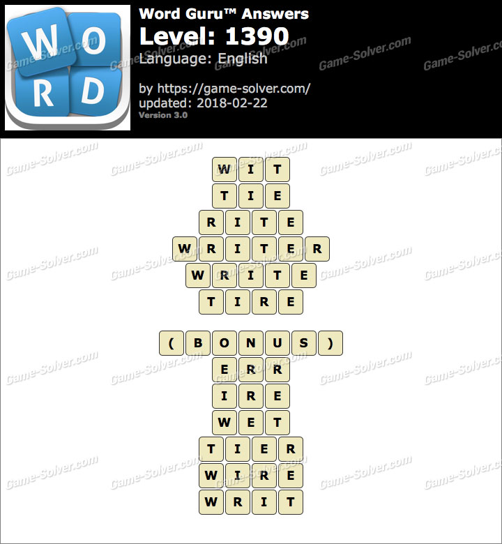 Word Guru Level 1390 Answers