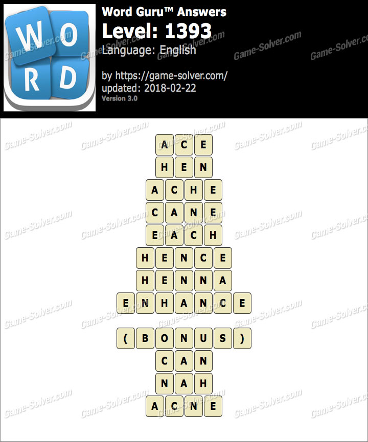 Word Guru Level 1393 Answers