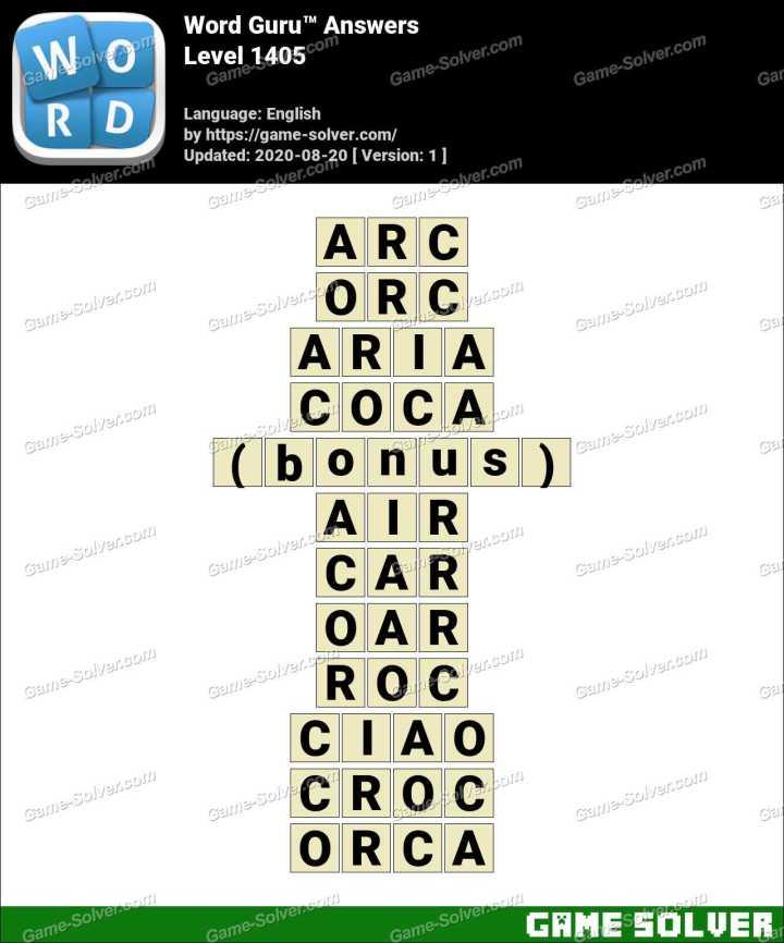 Word Guru Level 1405 Answers