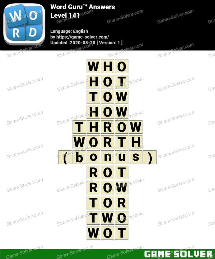 Word Guru Level 141 Answers