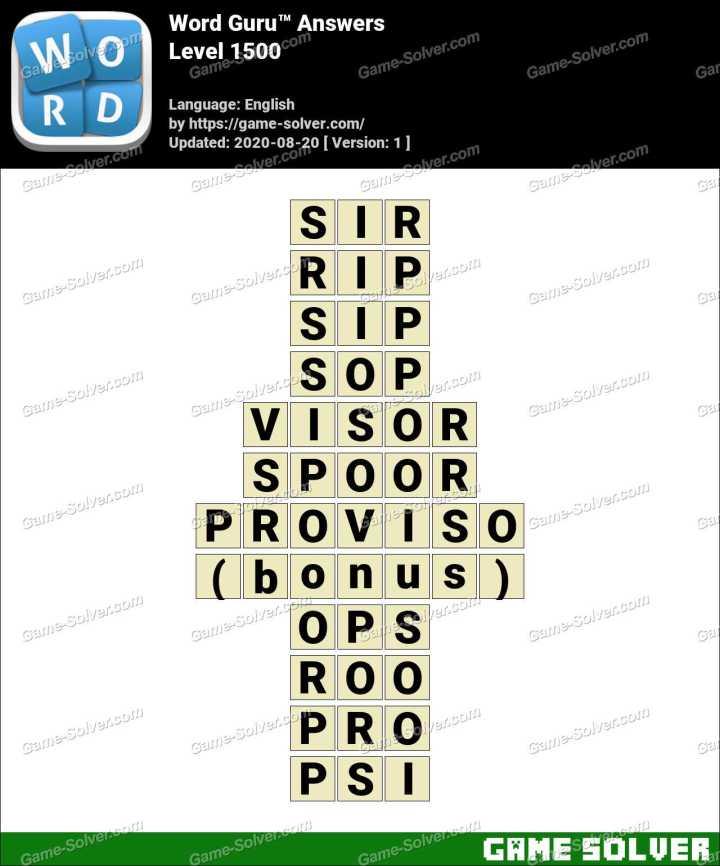 Word Guru Level 1500 Answers