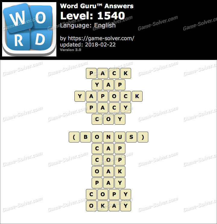 Word Guru Level 1540 Answers