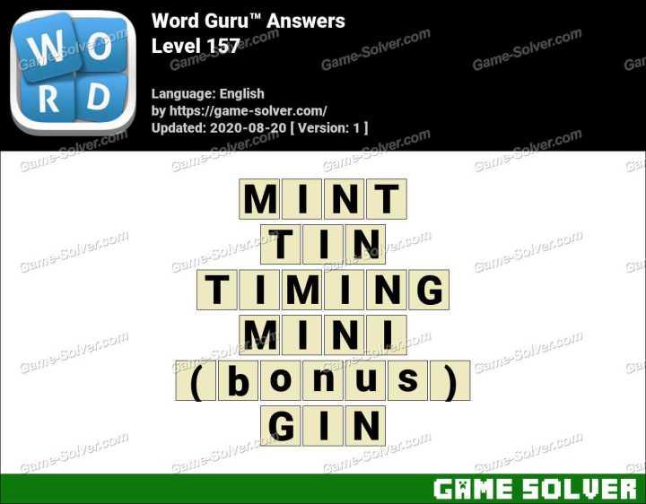 Word Guru Level 157 Answers
