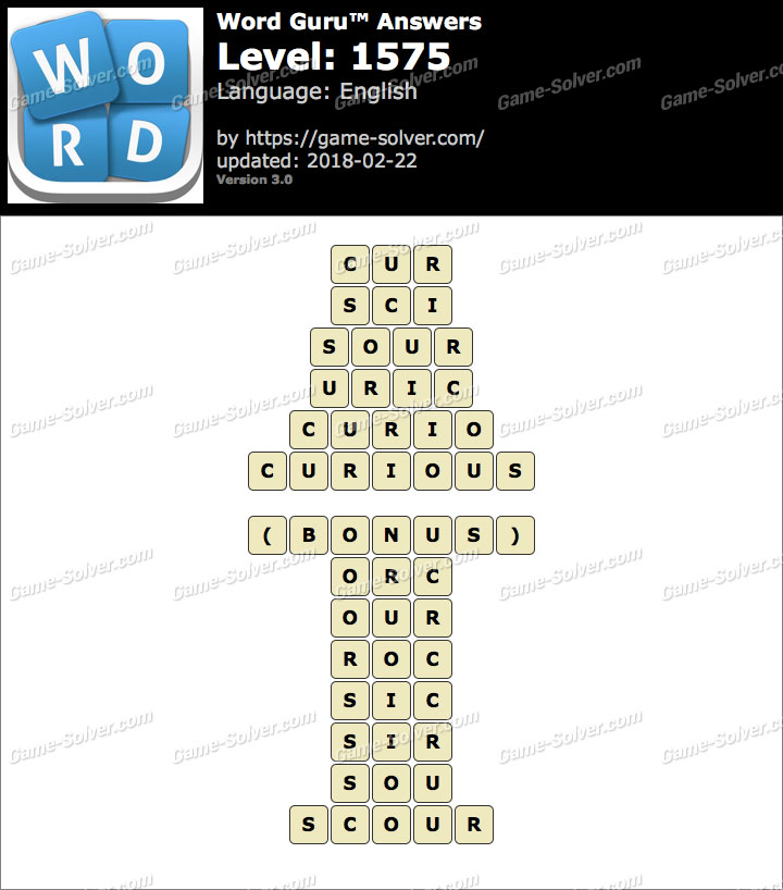 Word Guru Level 1575 Answers