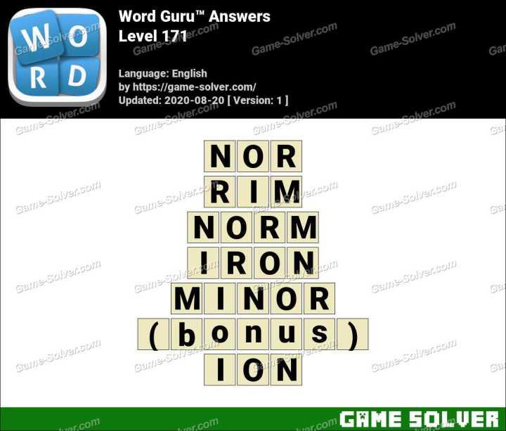 Word Guru Level 171 Answers