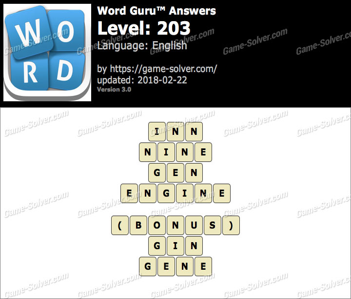 Word Guru Level 203 Answers