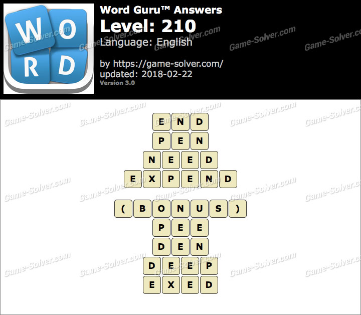 Word Guru Level 210 Answers