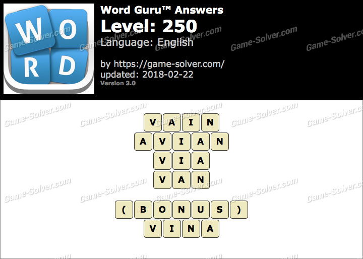Word Guru Level 250 Answers