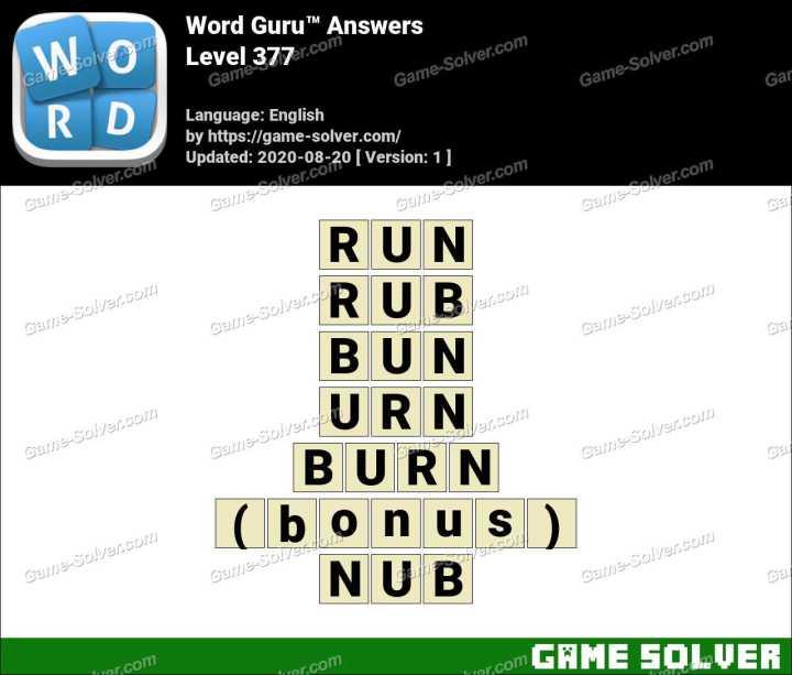 Word Guru Level 377 Answers