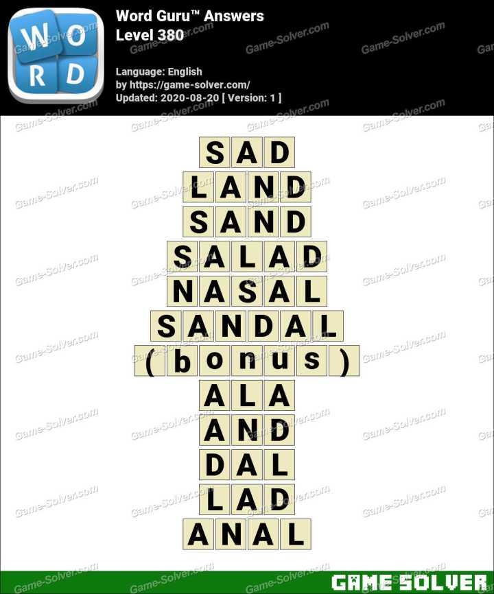 Word Guru Level 380 Answers