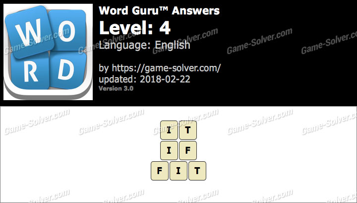 Word Guru Level 4 Answers