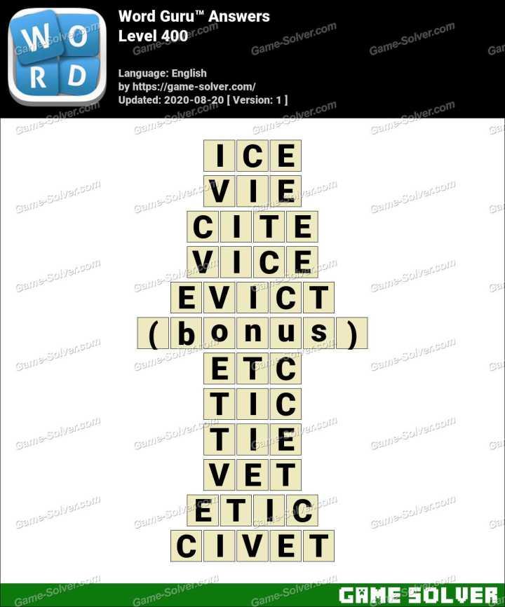 Word Guru Level 400 Answers