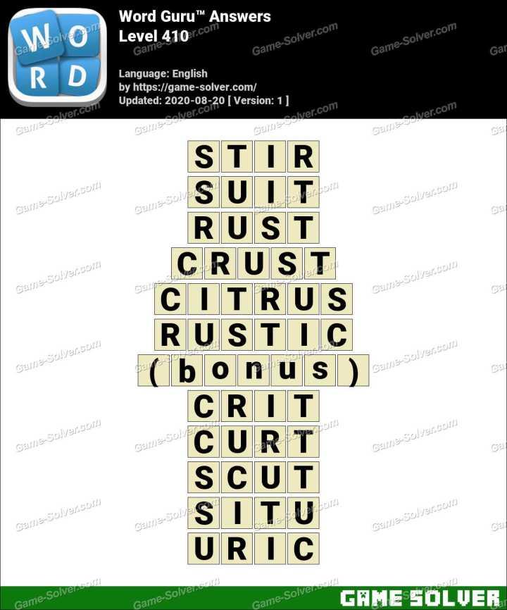 Word Guru Level 410 Answers
