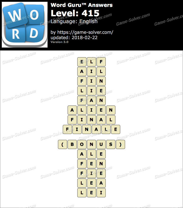 Word Guru Level 415 Answers