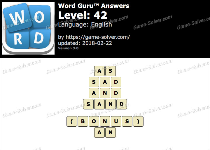 Word Guru Level 42 Answers