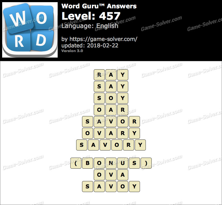 Word Guru Level 457 Answers