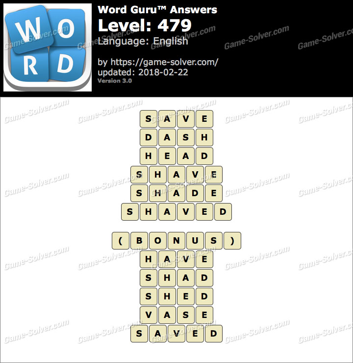 Word Guru Level 479 Answers
