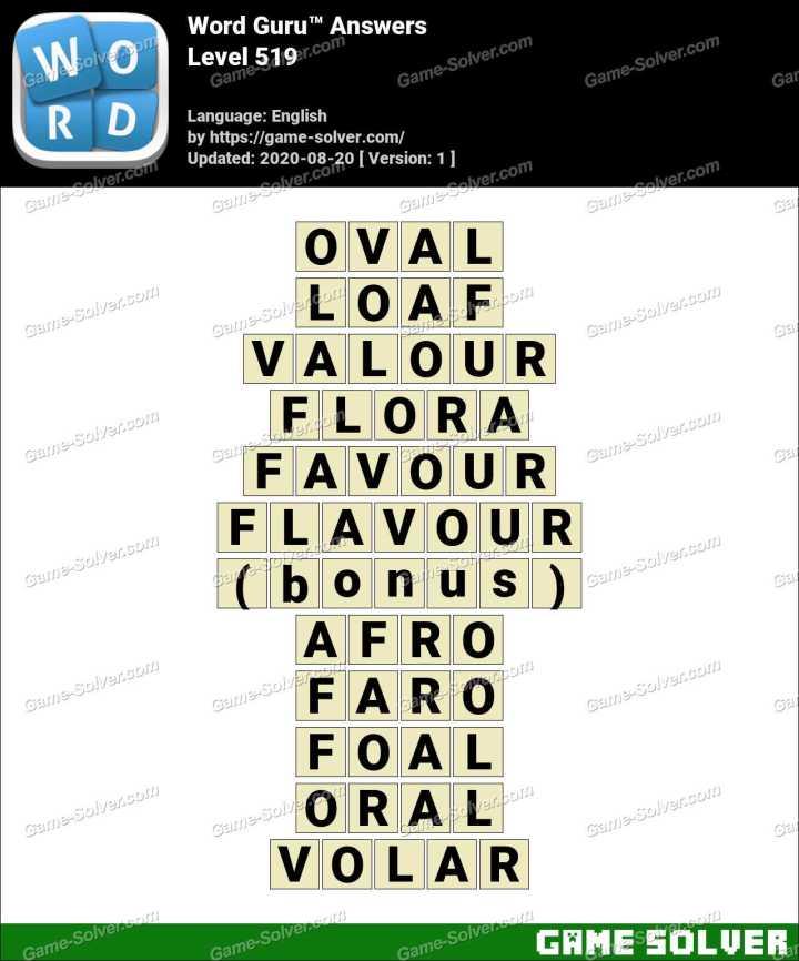 Word Guru Level 519 Answers