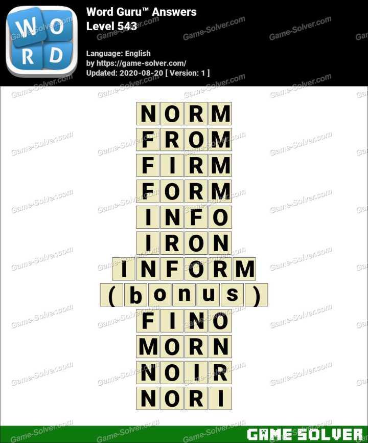 Word Guru Level 543 Answers