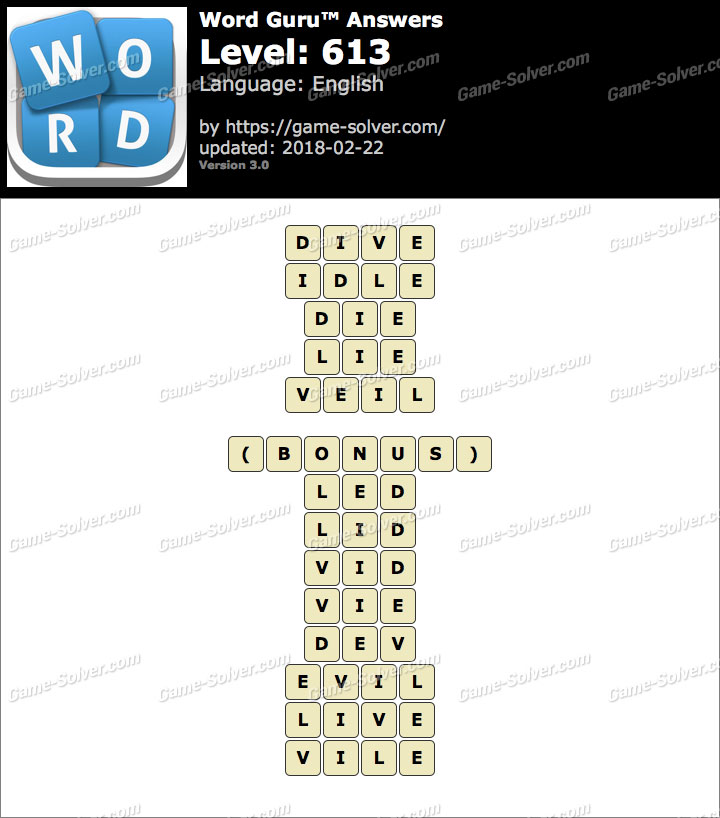 Word Guru Level 613 Answers
