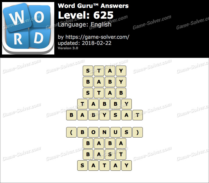 Word Guru Level 625 Answers