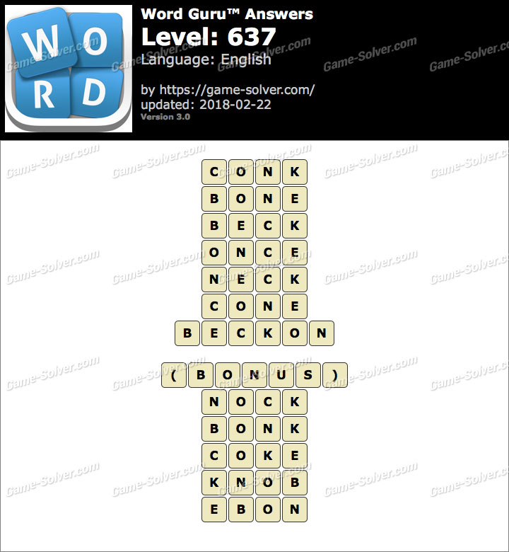 Word Guru Level 637 Answers