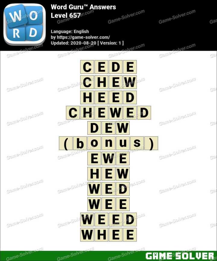 Word Guru Level 657 Answers