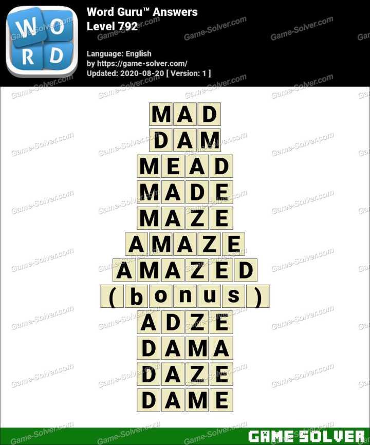 Word Guru Level 792 Answers