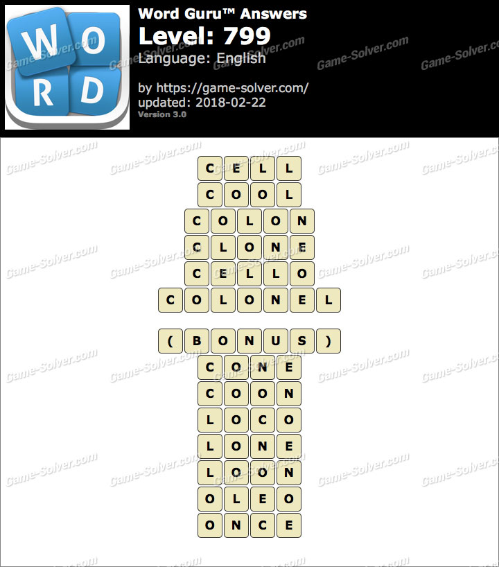 Word Guru Level 799 Answers