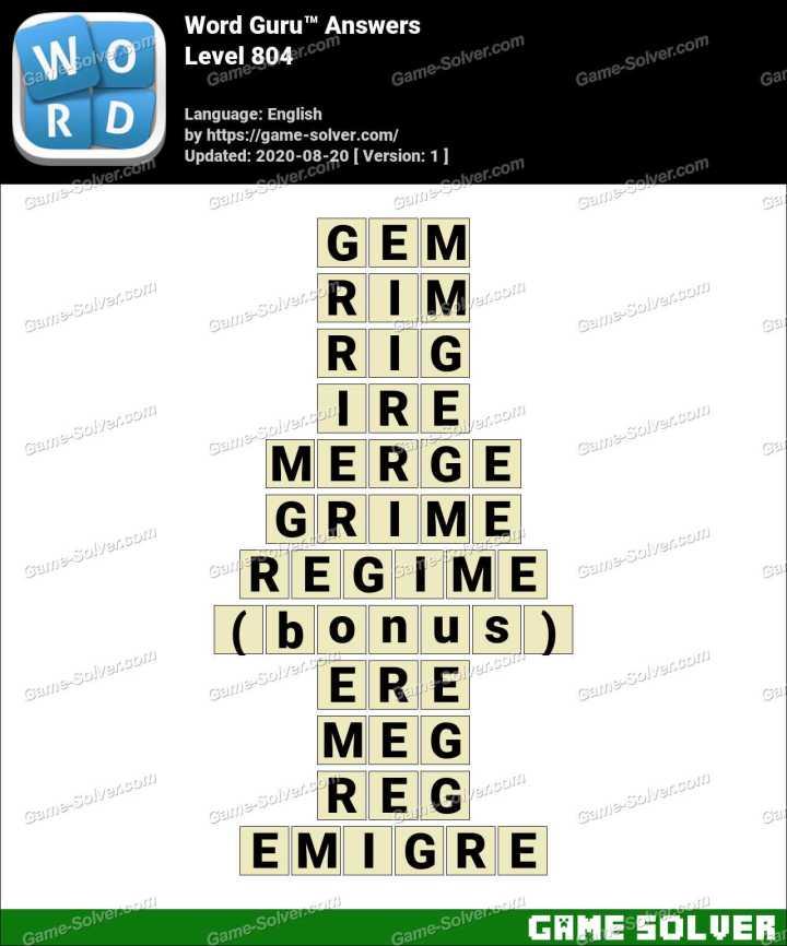 Word Guru Level 804 Answers