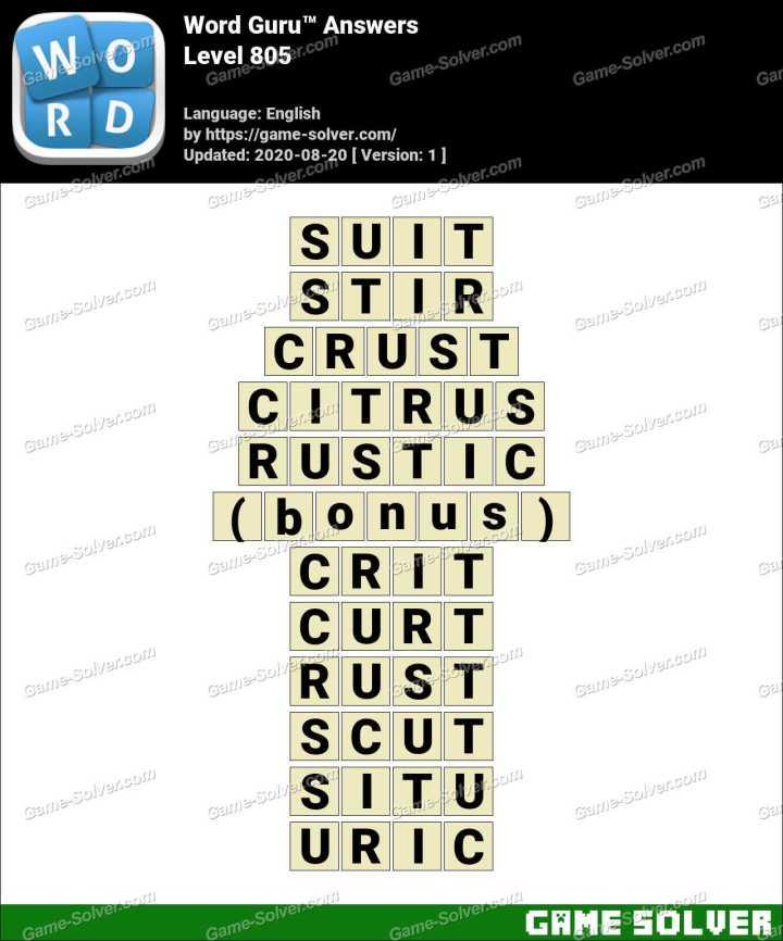 Word Guru Level 805 Answers