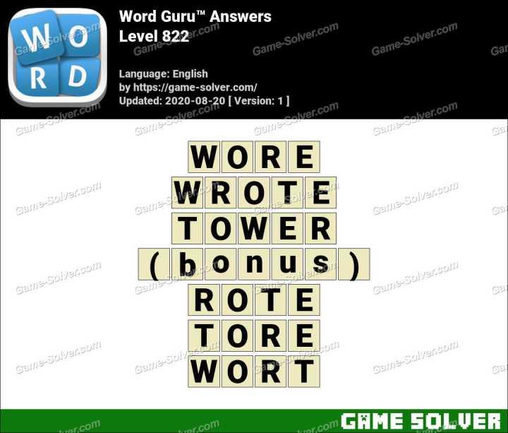 Word Guru Level 822 Answers
