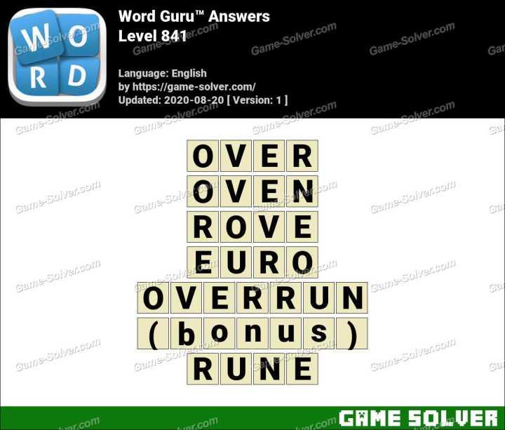 Word Guru Level 841 Answers