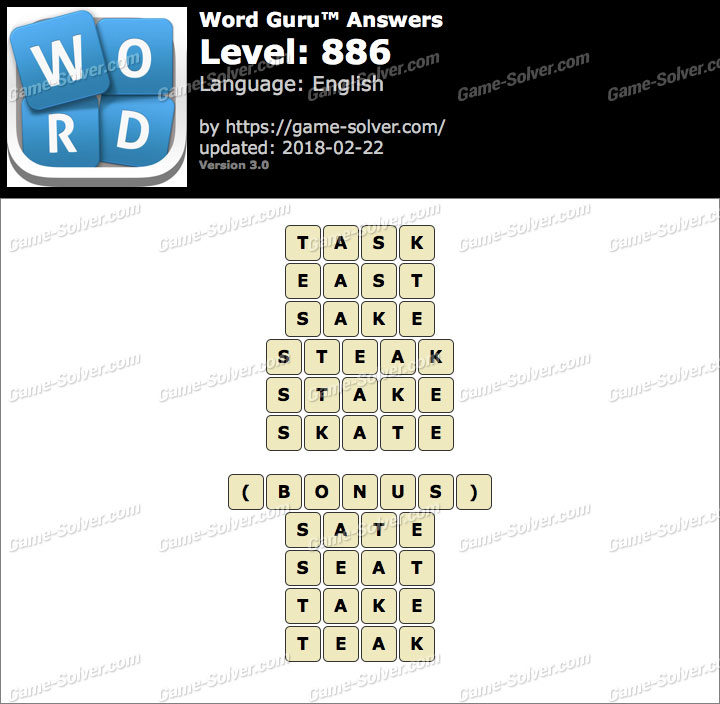 Word Guru Level 886 Answers
