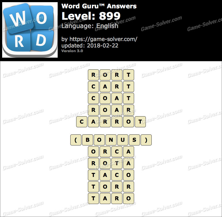 Word Guru Level 899 Answers
