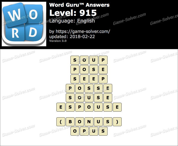 Word Guru Level 915 Answers