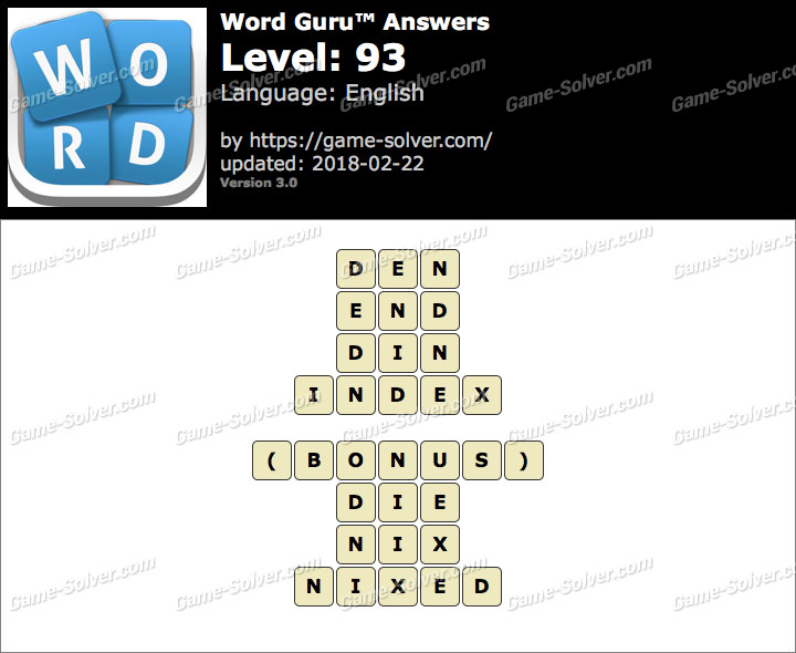 Word Guru Level 93 Answers