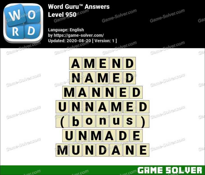 Word Guru Level 950 Answers