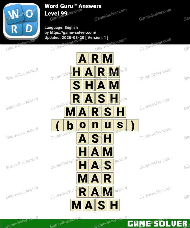 Word Guru Level 99 Answers